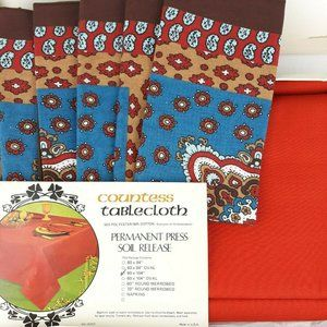 Vintage Fall Tablecloth Napkin Set